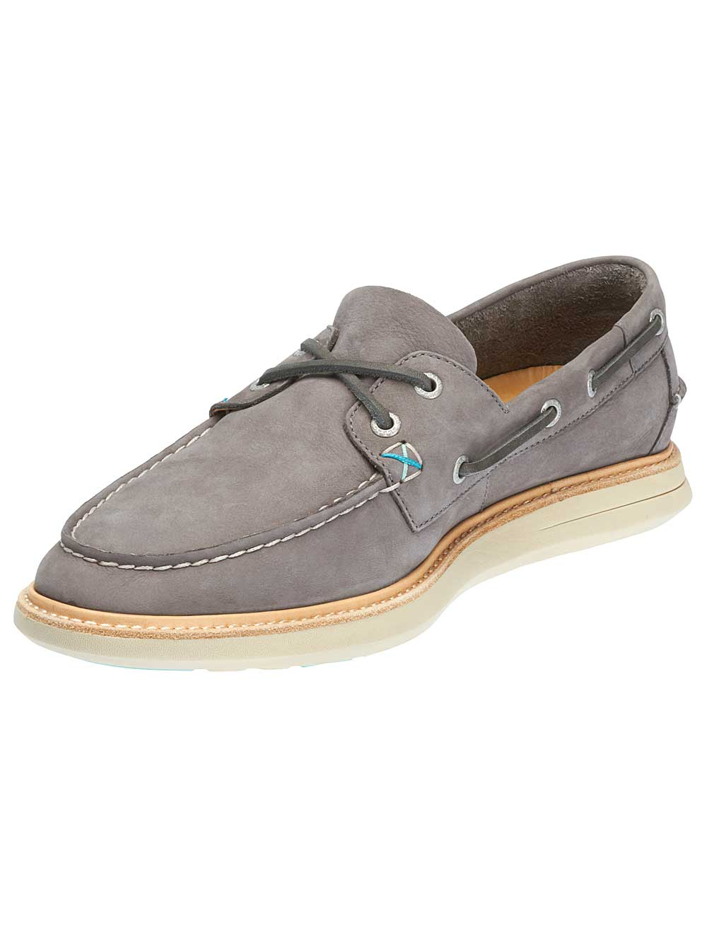 Sebago Mens Smyth Two Eye Boat Shoes in Dark Grey Nubuck