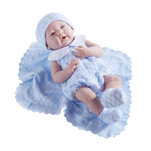 "JC Toys La Newborn 15"" All Vinyl Anatomically Correct Real Boy - Dressed in Blue Knit Blanket Gift Set"