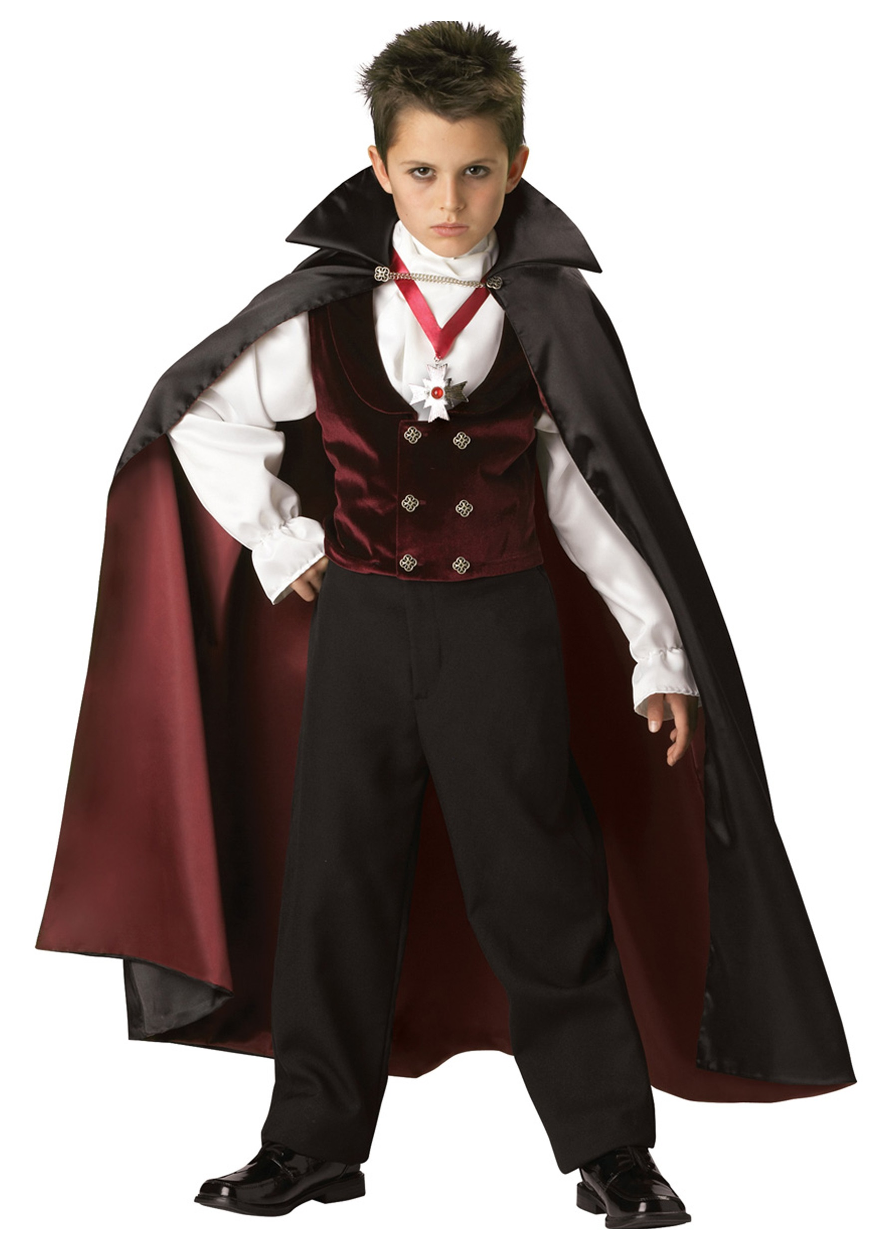 Boys Vampire Costume Child Dracula Halloween Fancy Dress Kids Gothic Outfit