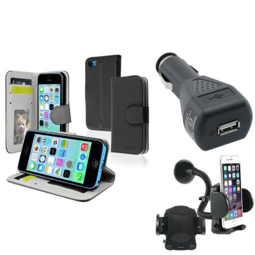 Insten Black Stand Wallet Leather Case+Car Mount+Car Charger For Apple iPhone 5C