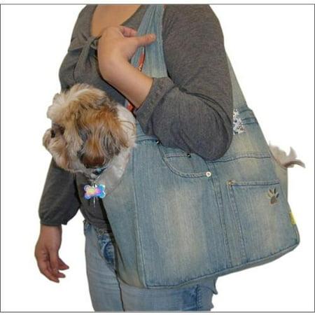 Blue Denim Carrier Bag For Pet Dog Cat Puppy