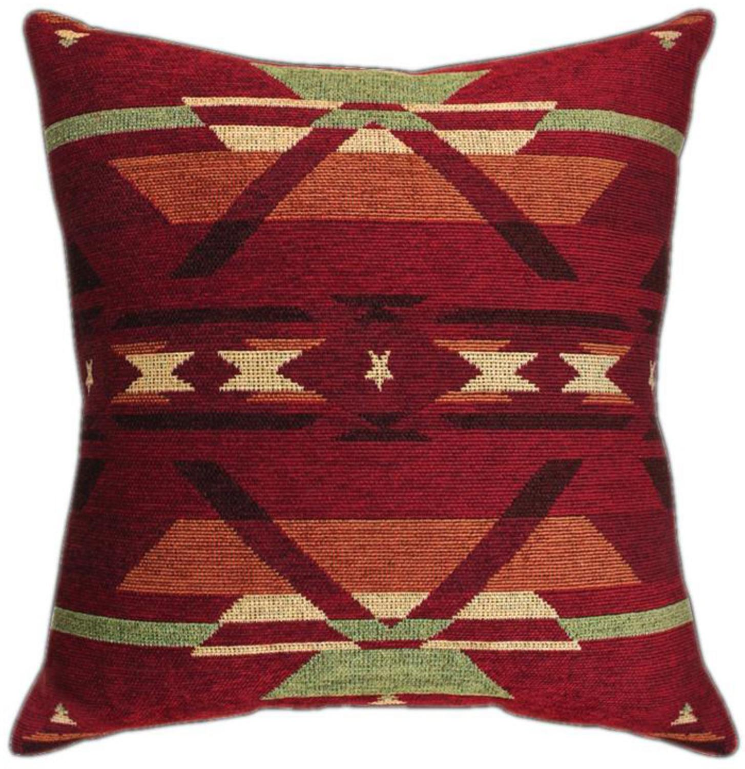 "23"" Ox Blood Tribal Print Square Chenille Throw Pillow"