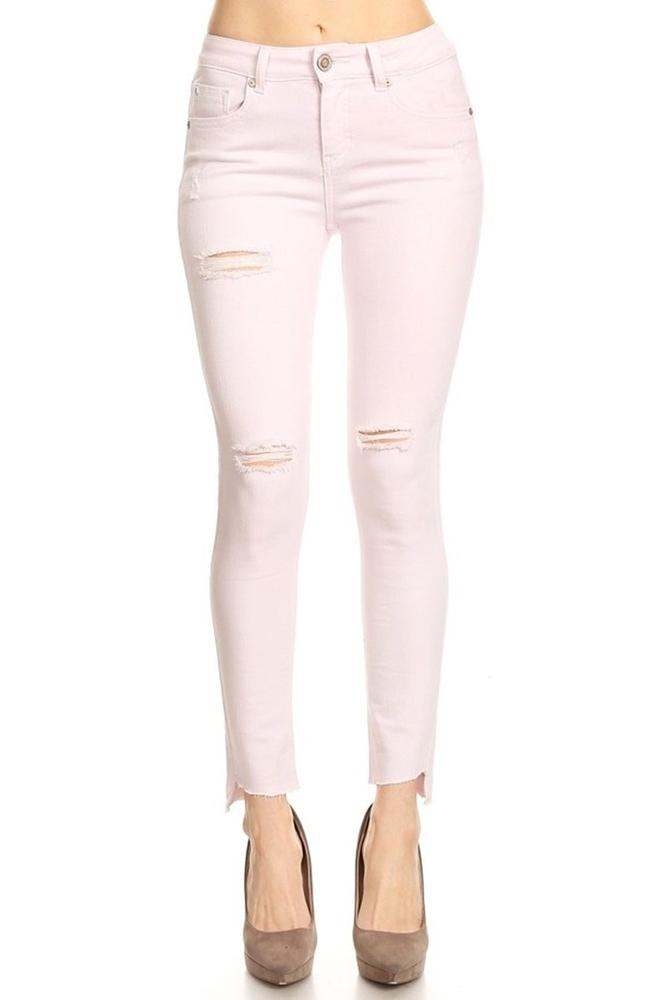 Salt Tree Women's EnJEan Destroyed Frayed Hem High Rise Skinny Jeans