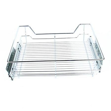 Lv. life Under Shelf Storage Basket Kitchen Pantry Pull Out Sliding Metal Basket Drawer Storage