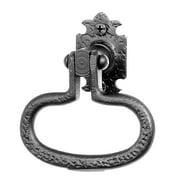 "Acorn Manufacturing Rp8p 3-7/8"" Wide Rough Iron Bean Ring Door Pull - Black"