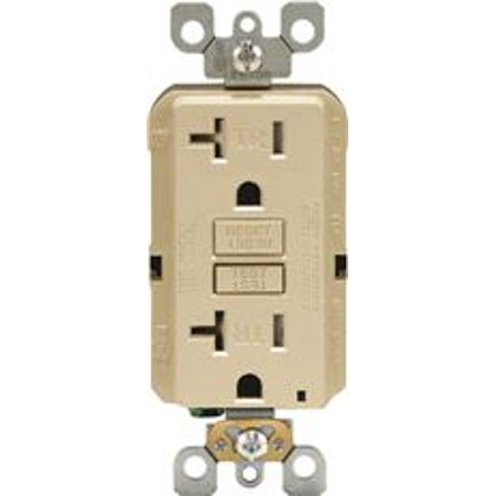 LEVITON SMARTLOCKPRO 2-POLE TAMPER-RESISTANT DUPLEX GFCI RECEPTACLE WITH LED, LIGHT ALMOND, NEMA 5-2