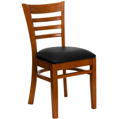 Ladder Back Chairs, Set of 2, Cherry with Black Vinyl Seat