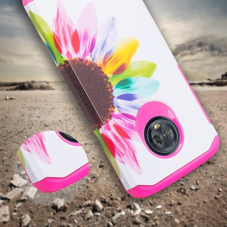 Motorola Moto G6 Case, Moto G6(2018) Case Slim Hybrid Soft Silicone Dual Layer [Shock Resistant] Cute Case Cover for Girls Women Phone Case for Moto G (6thGeneration) - Vivid Sunflower - image 4 de 6