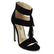 Atrevida Kalila-05 Women's Fringe Heels BLACK-8.5