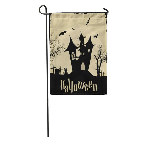 NUDECOR Aged Vintage Halloween on Antique Bat Black Castle Celebration Creepy Garden Flag Decorative Flag House Banner 28x40 inch - image 1 de 2