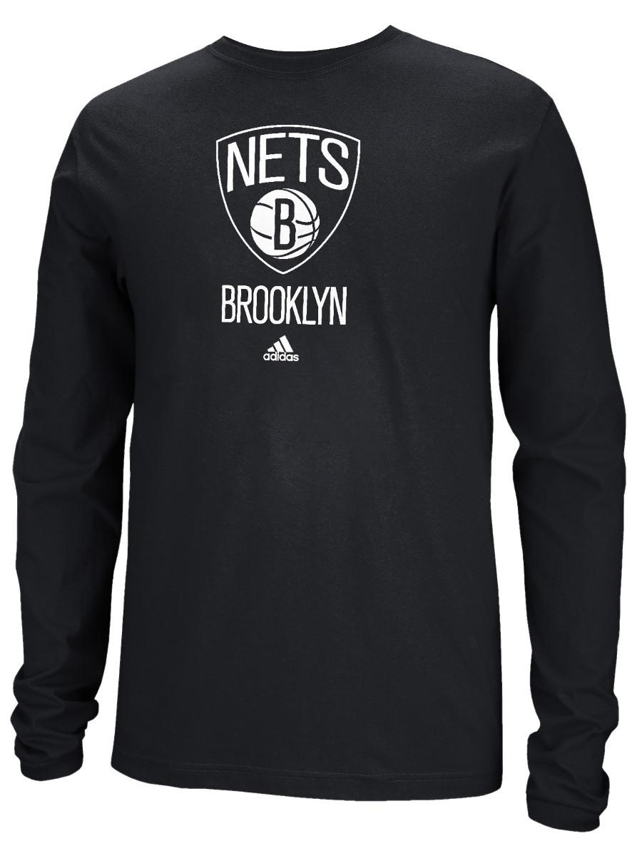 Brooklyn Nets Adidas NBA Full Primary Logo Long Sleeve T-Shirt Black by Adidas