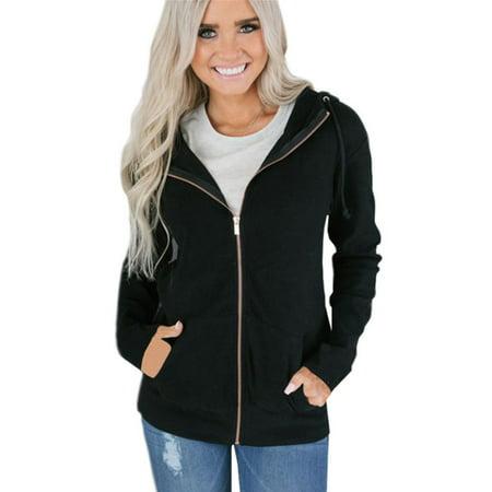 629189048 Women Plain Hoodies Ladies Hooded Zip Zipper Top Sweatshirt Jacket ...