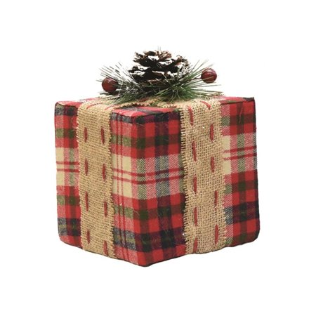 "6.75"" Red Plaid Square Gift Box with Pine Burlap Bow Table Top Christmas Accent"