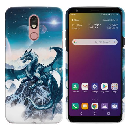 "FINCIBO LG Stylo 5 Q720 6.2"" 2019 Protector Case Hard Plastic Back Cover - Blue Ice Dragon"