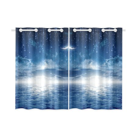 MYPOP Peaceful Blue Night Sky with Moon Stars Window Curtain Kitchen Curtain 26x39 inches (Two Pieces)