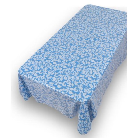 - Royal Bath 52 X 70 Vinyl Tablecloth With Flannel Backing, Parttern Name: Damask Scroll, Blue
