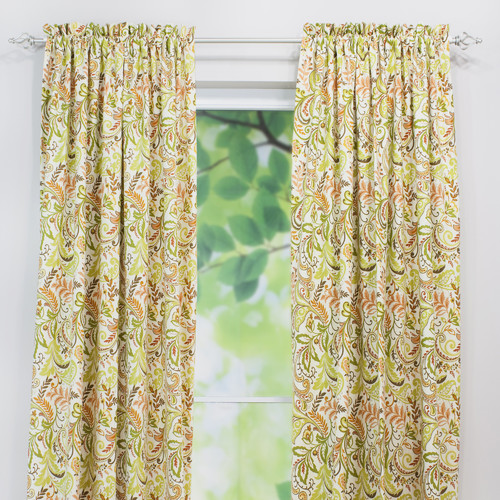 Brite Ideas Living Findlay Apricot Linen Rod Pocket Curtain Panel