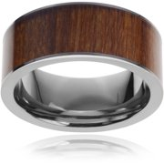 Men's Pipe-Cut Titanium Hawaiian Koa Inlay Fashion Ring, 9mm