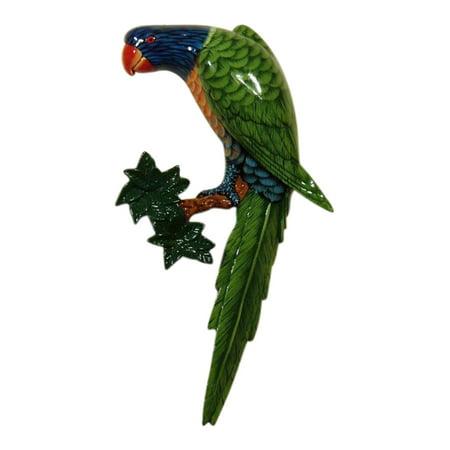 Tropical Green Macaw Rainbow Lorikeet Parrot Tiki Wall Decor 10 Inch ParBr2Green