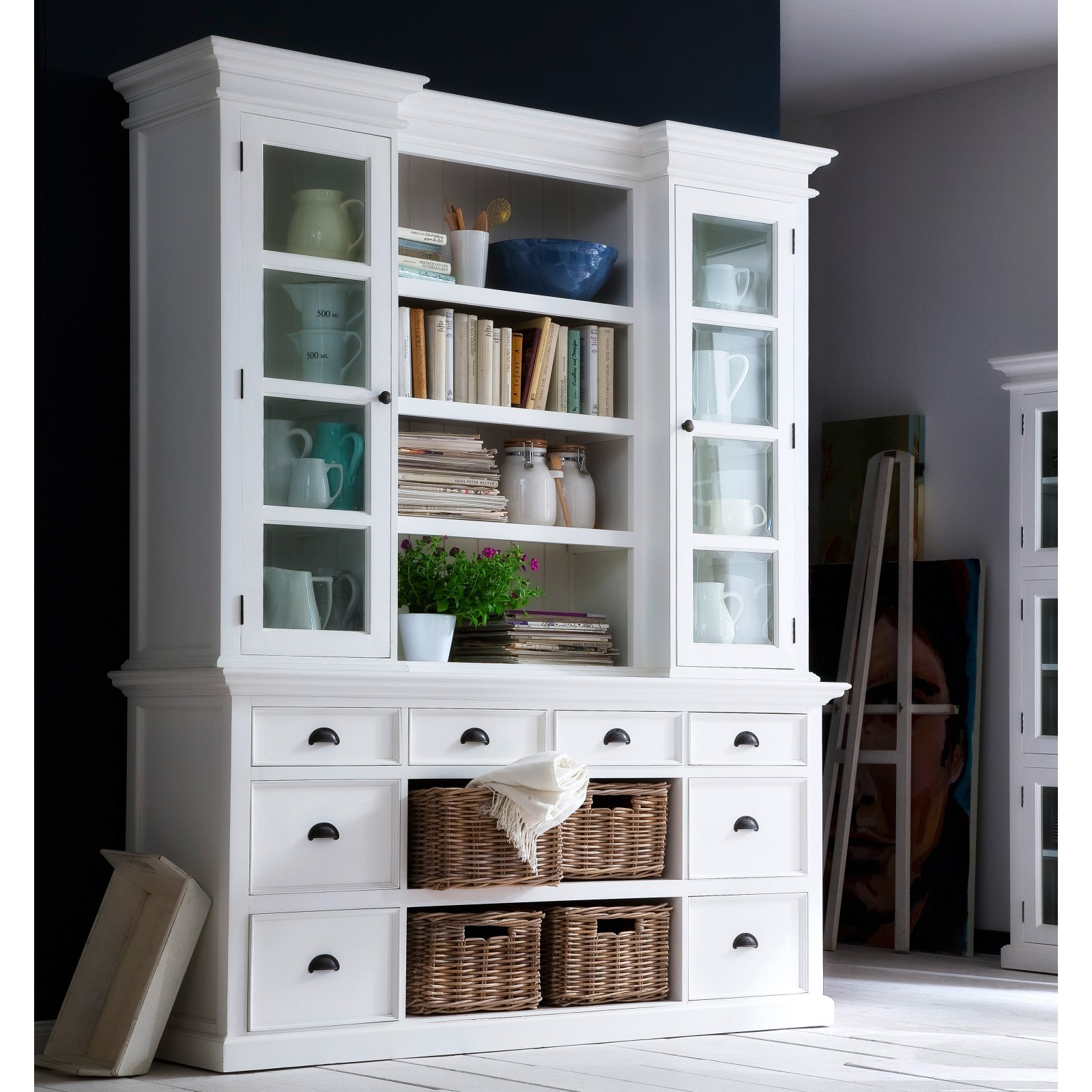 Nova Solo Halifax Library Hutch with Basket Set