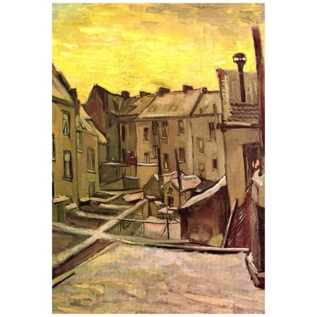 Vincent Van Gogh Backyards of Old Houses in Antwerp in the Snow Art