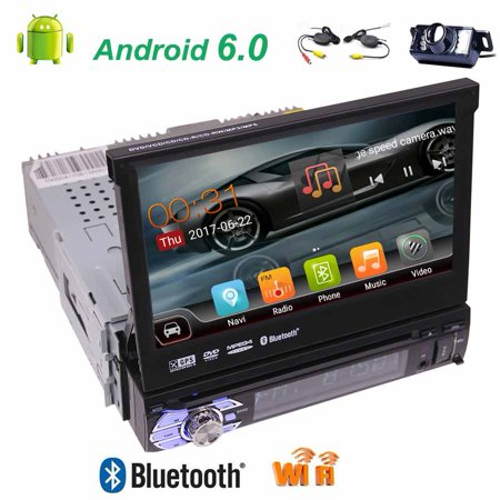Free wireless camera included!Single din High Resolution 7 inch Digital LED Backlit LCD TFT Display Removable panel with gps car dvd player newest android 6.0 car stereo support Bluetooth,wifi,3G/4G