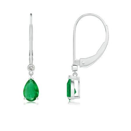 May Birthstone Earrings - Pear-Shaped Emerald Leverback Drop Earrings with Diamond in 14K White Gold (6x4mm Emerald) - SE0999ED-WG-AA-6x4