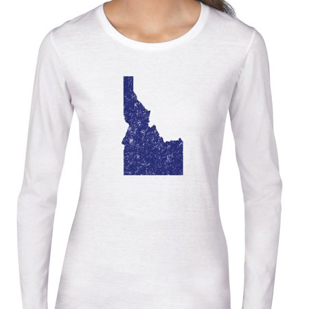 Idaho Blue Democratic   Election Silhouette Womens Long Sleeve T Shirt