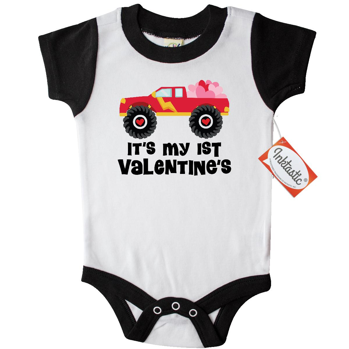 Inktastic 1st Valentine's Day Monster Truck Infant Creeper Baby Bodysuit babys first valentine hearts cute gift idea for one-piece hws