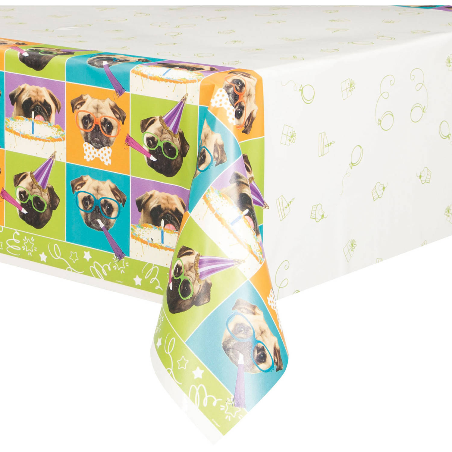 """Plastic Pug Dog Party Table Cover, 84"""" x 54"""""""