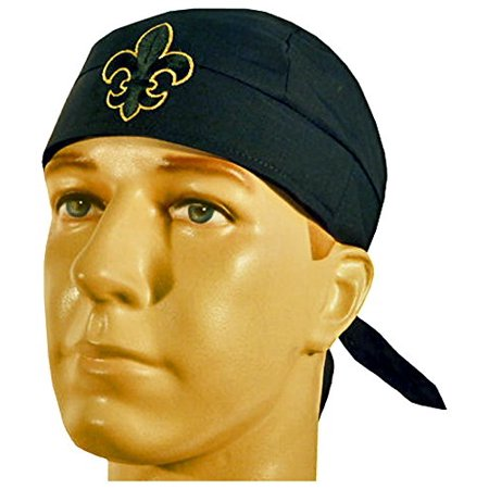 Fleur De Lis Bandana Skull Cap Made in America Headwrap Black and Gold - Gold Bandanas