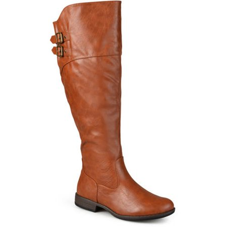 - Women's Extra Wide Calf Double-Buckle Knee-High Riding Boot