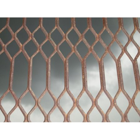 Wrought Iron Mesh - Canvas Print Fence Iron Mesh Metal Welded Wrought Grill Oxide Stretched Canvas 10 x 14