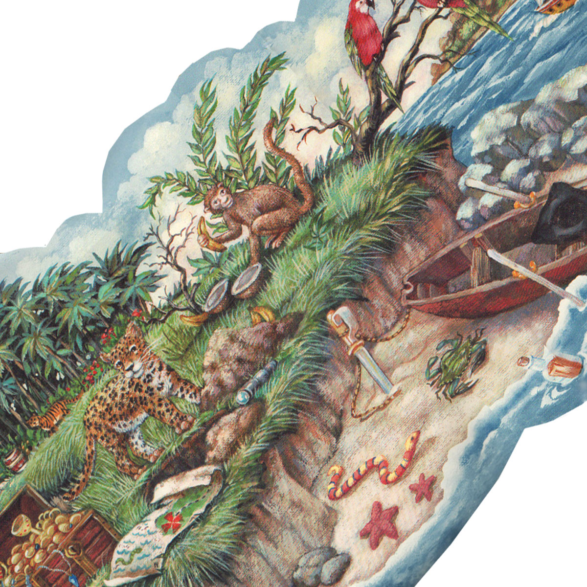 Blue Mountain Wallcoverings 12440721 Pirate Beach Jungle Prepasted Wall Border Roll