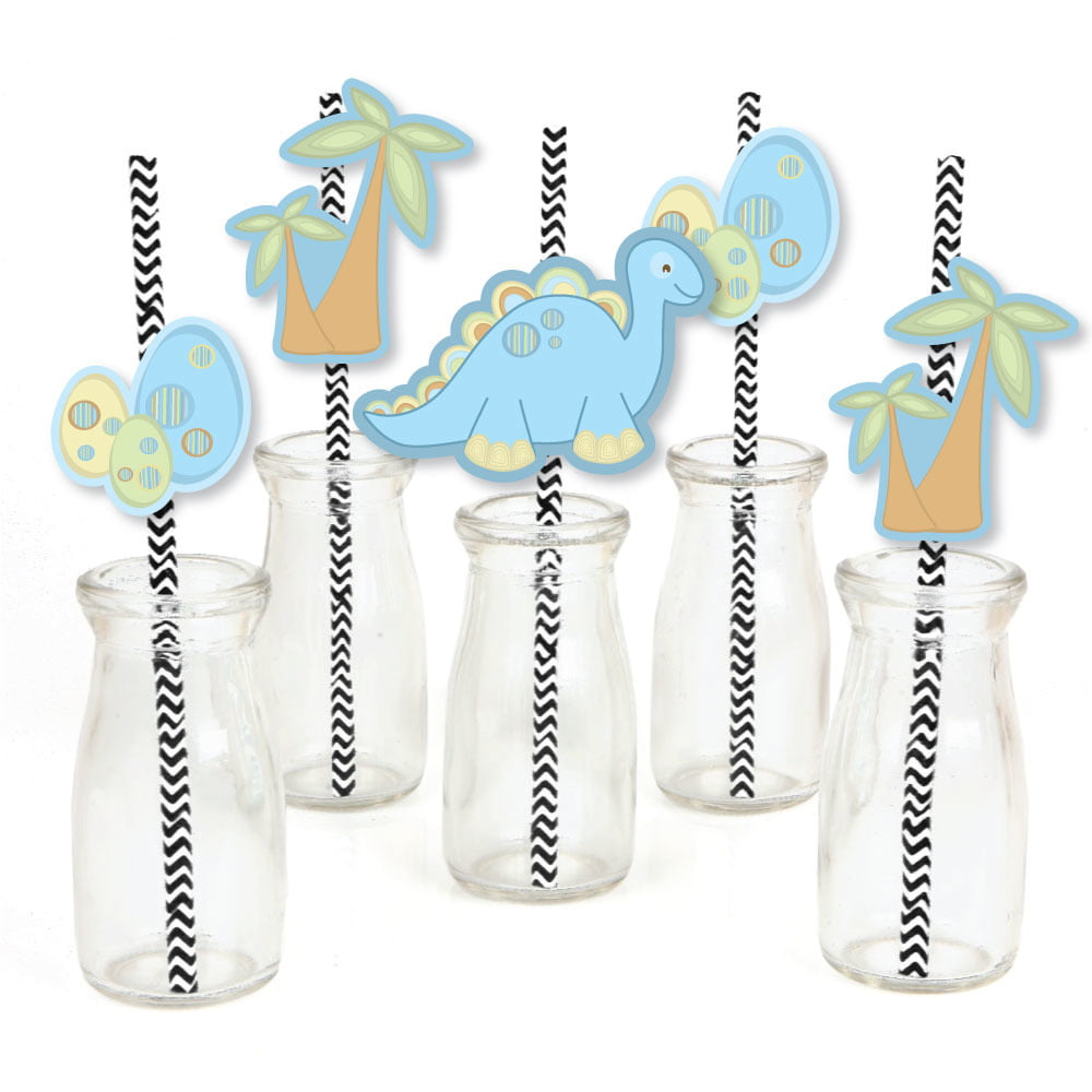 Dinosaur Baby Boy dinosaur Baby Shower Paper Cut-Outs /& Striped Paper Straws Die-Cut Straw Decorations Set of 24