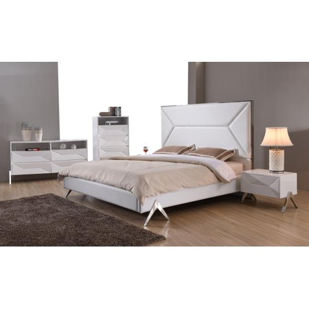 Modern White Leatherette Queen Bedroom Set 5Pcs VIG Modrest Candid