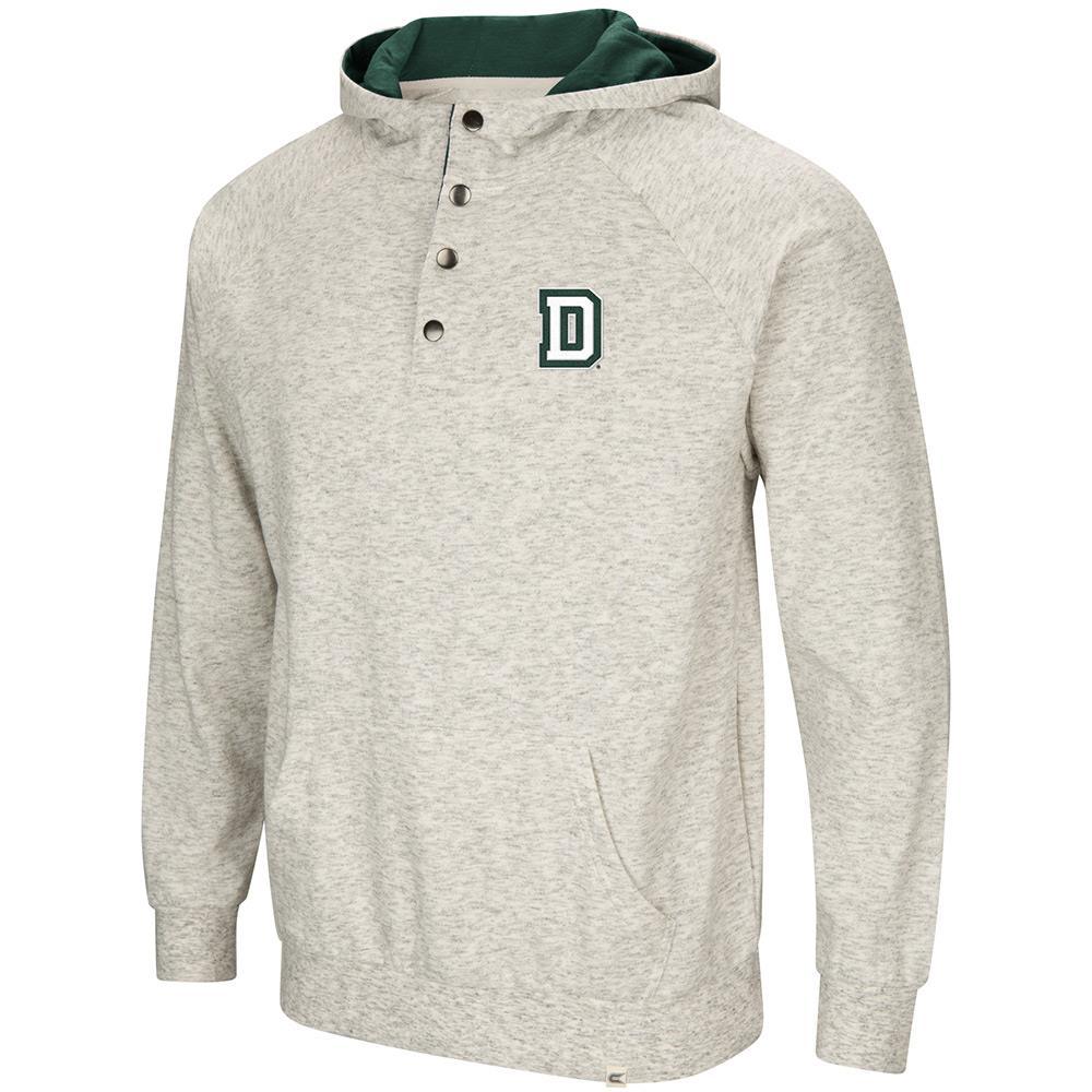 Mens Dartmouth Big Green Henley Fleece Hoodie S by Colosseum