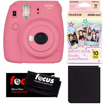 Fujifilm Instax Mini 9 (Pink) w/ Shiny Star Film (1-PK) & Photo Wallet