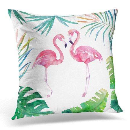 ARHOME Green Animal Watercolor with Leaves and Two Flamingos Pink Beautiful Pillow Case Pillow Cover 20x20 inch ()
