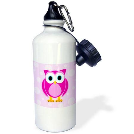 3dRose Cute Pink Owl on Light Pink Background, Sports Water Bottle, 21oz