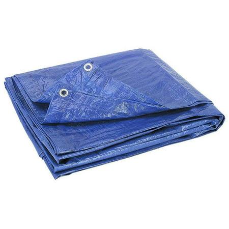Blue Tarp Lightweight Heavy Duty Industrial Grade | Durable Fiber Reinforced Laminated Polyethylene Rust | UV Waterproof Resistant Grommets Rot Mildew Proof-for Cars, Camping, Trailers (12 X 16)