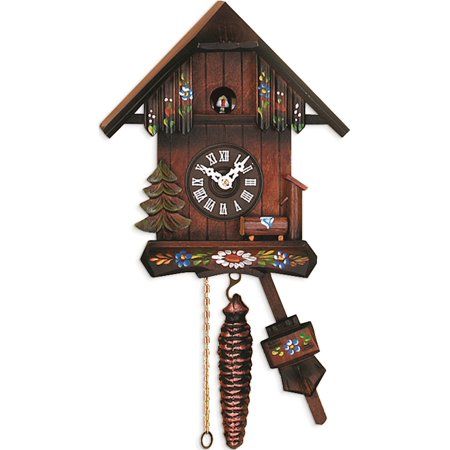 Cottage W/Hand-Painted Flowers Cuckoo Clock Designer Jewelry by Sweet Pea ()