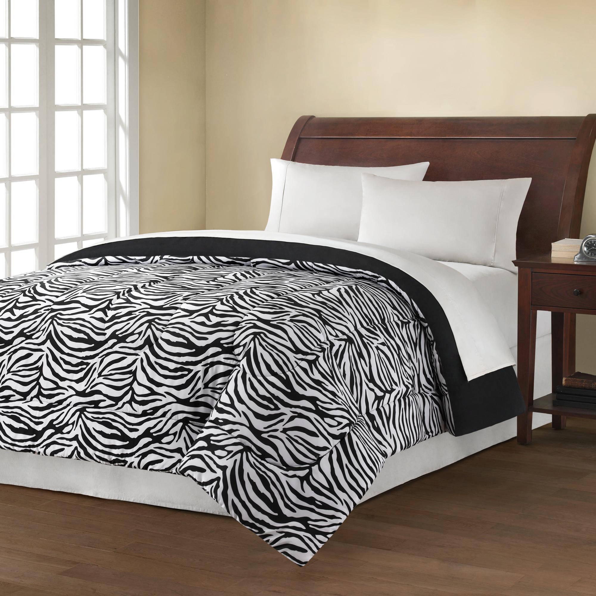 Mainstays Reversible Comforter Collection, Zebra