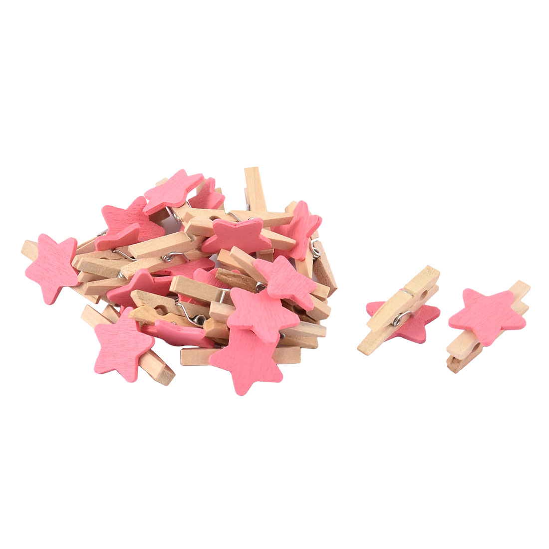 Unique Bargains Festival Weeding Cards Photo Clamp Spring Pegs Mini Wooden Clip Pink 20pcs