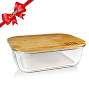 Glass Bamboo Lids, Meal Prep Containers Food storage, XXLarge Size, Pantry Kitchen Fridge Cabinet Organizer, Lunch box, Butter Dish, Microwave Oven Freezer Safe, Clear