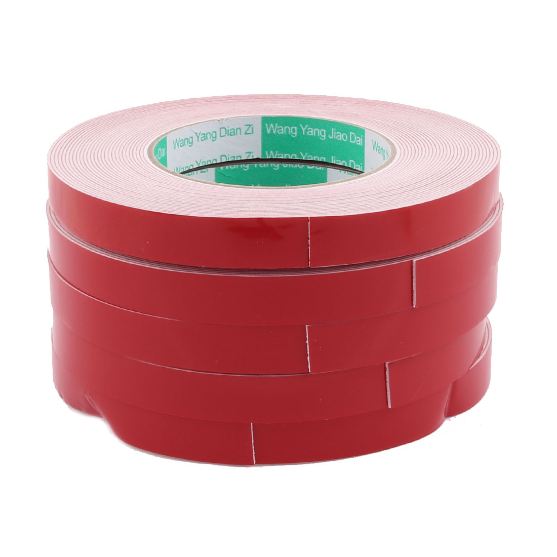 5PCS 10M Length 15 x 1mm White Red Double Sided Waterproof Sponge Tape for Car