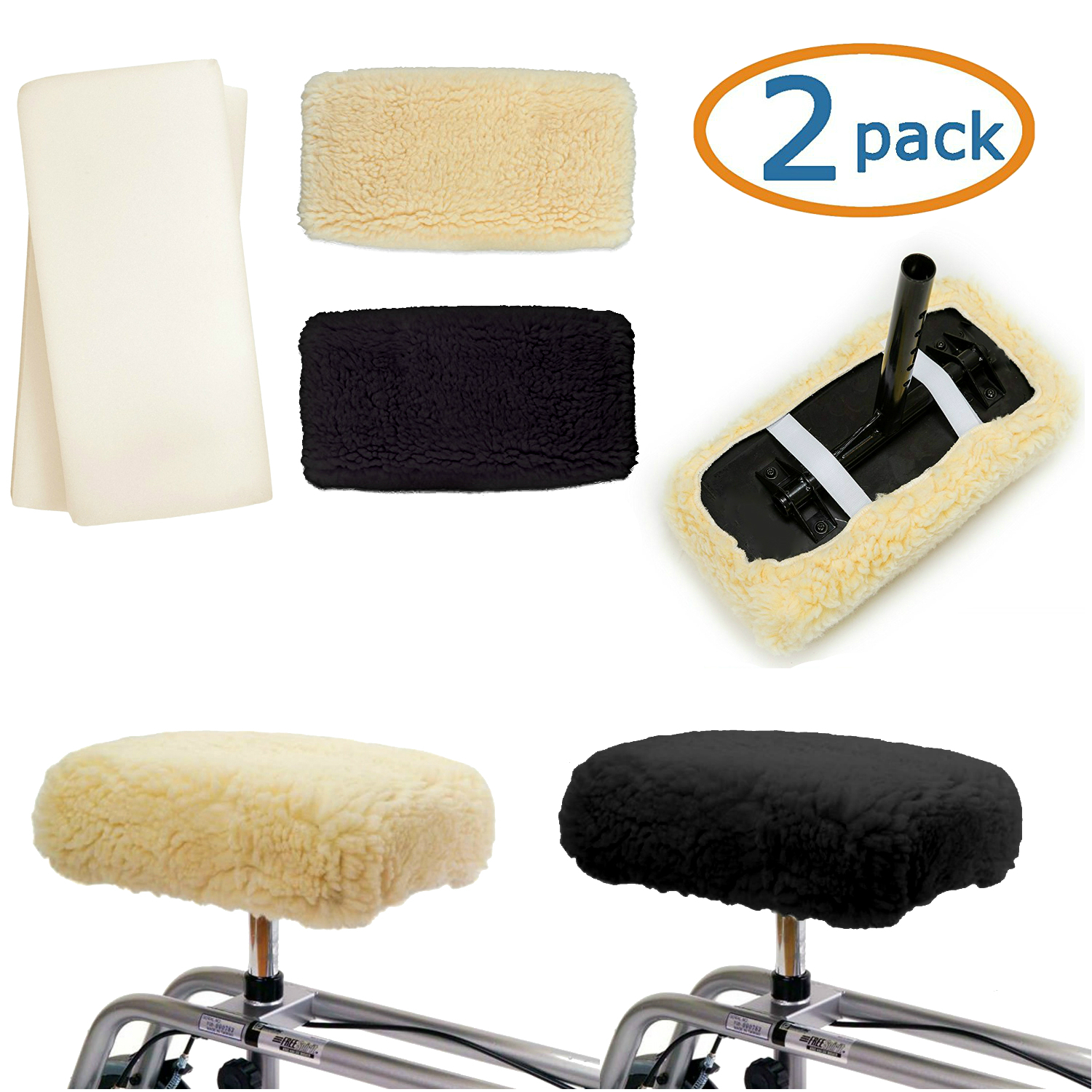 Knee Walker Cushion Covers 2 Pack For Knee Scooter For Injured Leg Universal Knee Scooter Pad Cover Faux Sheepette Knee Walker Seat Pads Covers For Rolling Scooter Includes 2 Extra Foam Inserts