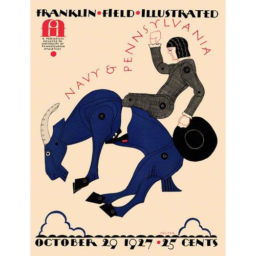 NCAA - 1927 Pennsylvania Quakers vs. Navy Midshipmen 36x48 Canvas Historic Football Poster