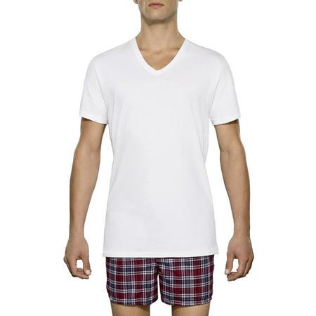 Tall Men's Classic White V-Neck T-Shirts, 3 Pack ()