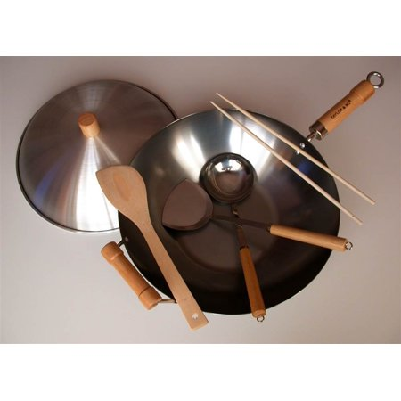 6 Pc Flat Bottom Wok Set
